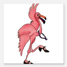 """Flamingo Dancer Square Car Magnet 3"""" x 3"""""""