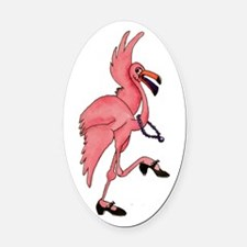 Flamingo Dancer Oval Car Magnet