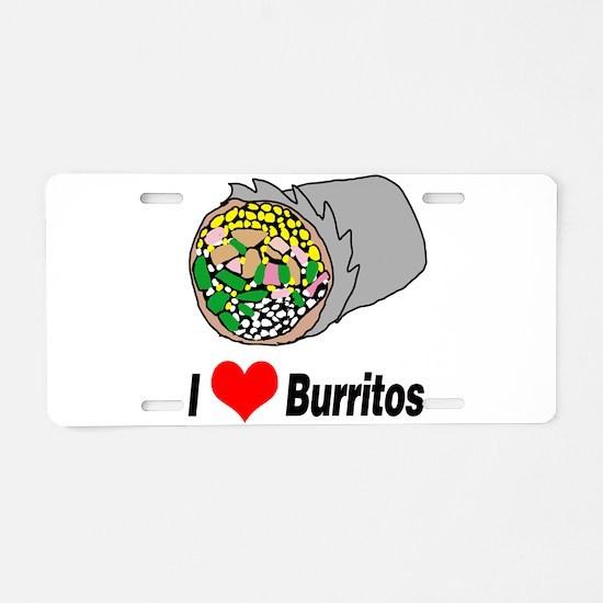 I heart burritos Aluminum License Plate