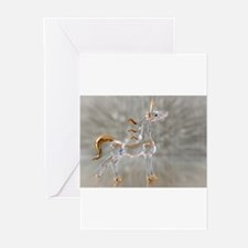glass gold unicorn figurine photo Greeting Cards