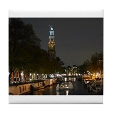 Amsterdam Canal at Night Tile Coaster