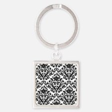 Cute Damask Square Keychain