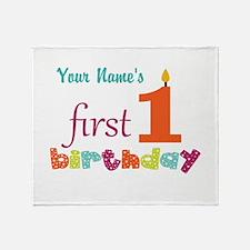 First Birthday - Pe... Throw Blanket