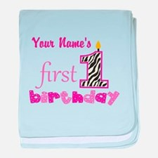 First Birthday - Personalized baby blanket