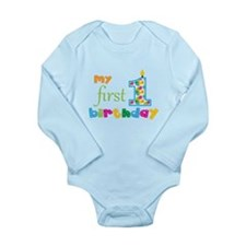 My First Birthday Long Sleeve Infant Bodysuit