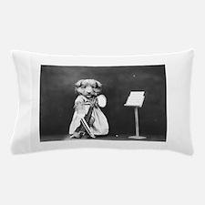 vintage musician dog puppy black white Pillow Case