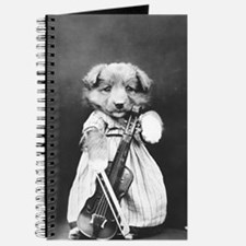 vintage musician dog puppy black white ant Journal
