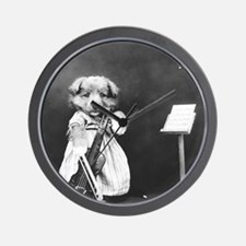 vintage musician dog puppy black white Wall Clock