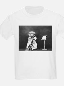 vintage musician dog puppy black white ant T-Shirt