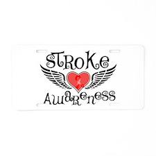 Stroke Awareness Wings Aluminum License Plate