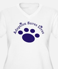 Adoption Saves Lives With Paw Plus Size T-Shirt