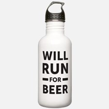 Cute I run for beer Water Bottle