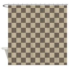 Tan Checked Geometric Pattern Shower Curtain