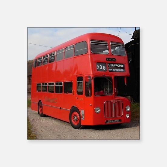 "Red double decker bus Square Sticker 3"" x 3"""