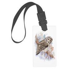 Watercolor Great Gray Owl Bird Luggage Tag