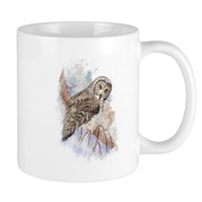 Watercolor Great Gray Owl Bird Nature Art Mugs