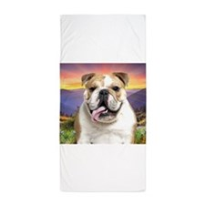 Cute Bulldog portrait Beach Towel