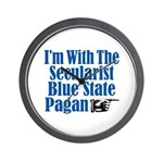 Im With the Secularist Blue State Pagan Wall Cloc