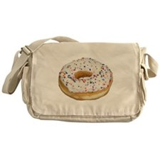 white rainbow sprinkles donut photo Messenger Bag