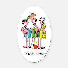 Flamingo Beach Bums Oval Car Magnet