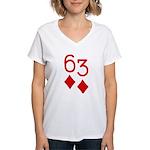 63 Diamonds Trey Poker Women's V-Neck T-Shirt