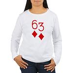 63 Diamonds Trey Poker Women's Long Sleeve T-Shirt