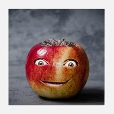 creepy red apple smile face Tile Coaster