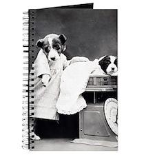 vintage dog parents baby puppy black white Journal