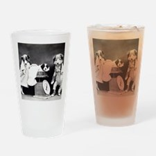 vintage dog parents baby puppy blac Drinking Glass
