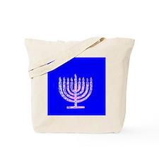 Blue Menorah Elegant Hanukkah Lights Macc Tote Bag