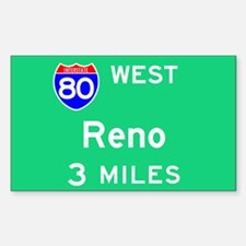 Reno NV, Interstate 80 West Rectangle Decal