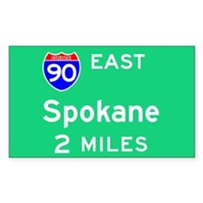 Spokane WA, Interstate 90 East Sticker (Rectangula