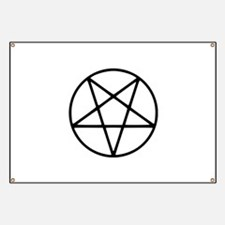 black white pentagram star Banner
