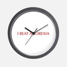 I beat anorexia-Opt red Wall Clock