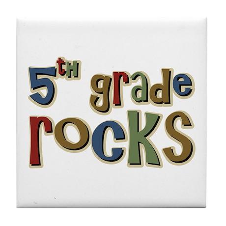 5th Grade Rocks Fifth School Tile Coaster