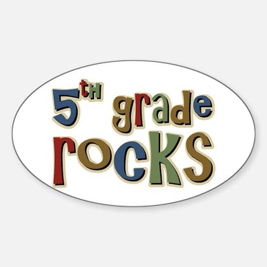 5th Grade Rocks Fifth School Oval Decal