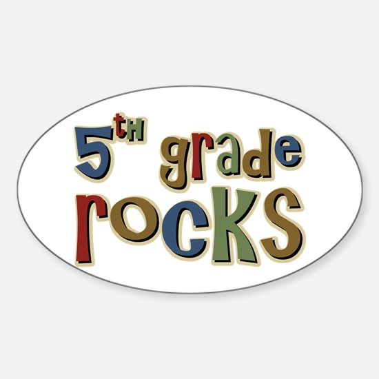 5th Grade Rocks Fifth School Oval Stickers