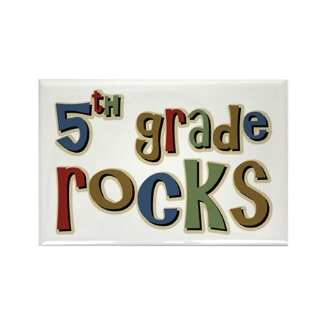 5th Grade Rocks Fifth School Rectangle Magnet (100