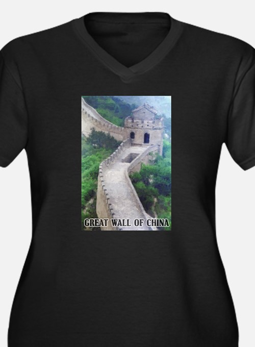 Great Wall Of China Women's Plus Size V-Neck Dark