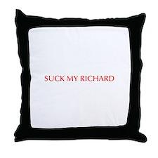 Suck my Richard-Opt red Throw Pillow