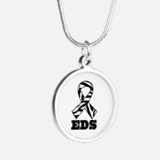 EDS Awareness Zebra Ribbon Silver Round Necklace