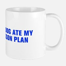 The dog ate my lesson plan-Akz blue Mugs