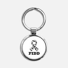 PIDD Awareness Ribbon Round Keychain