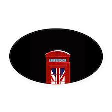 Union Jack London Phone Box Oval Car Magnet
