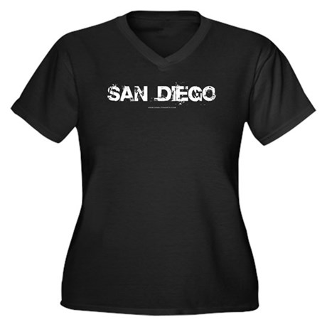 San Diego CA Women's Plus Size V-Neck Dark T-Shirt