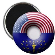 USA - Indiana Flag Donut Magnet
