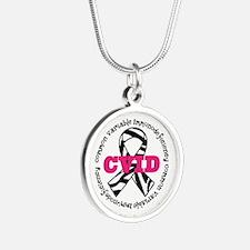 CVID Zebra Ribbon Silver Round Necklace