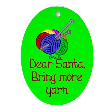 Christmas Oval Ornament. Santa, bring more yarn
