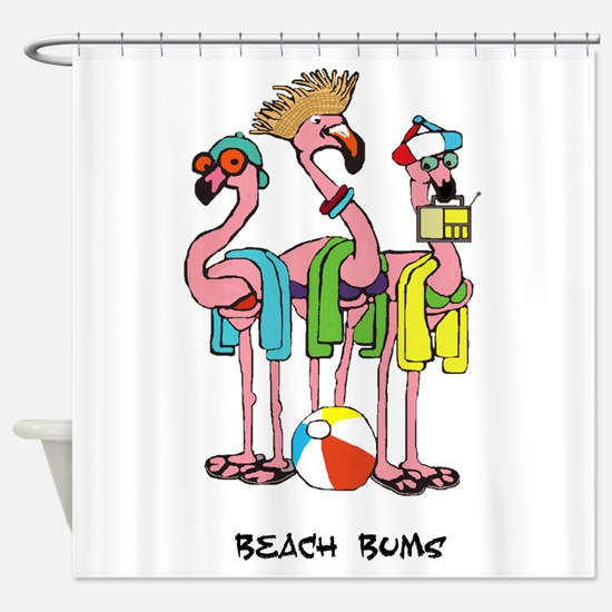 Flamingo Beach Bums Shower Curtain