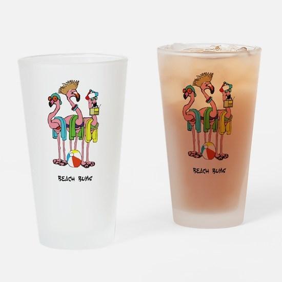 Flamingo Beach Bums Drinking Glass